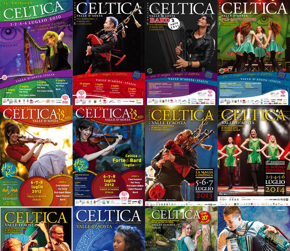 Cronologia copertina edizioni passate di Celtica Valle d'Aosta
